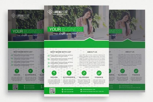 Folheto comercial verde e branco