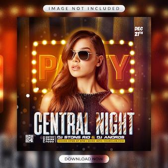 Folheto da central night party ou modelo de banner de mídia social