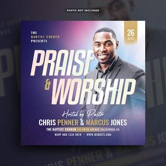 Folheto da conferência da igreja, postagem nas redes sociais e banner na web