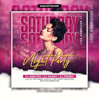 Folheto da festa do clube noturno de sábado ou postagem na mídia social