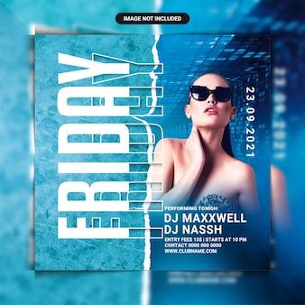 Folheto da festa do clube noturno de sexta-feira ou postagem na mídia social