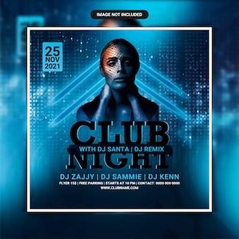 Folheto da festa do dj do clube noturno ou postagem nas redes sociais