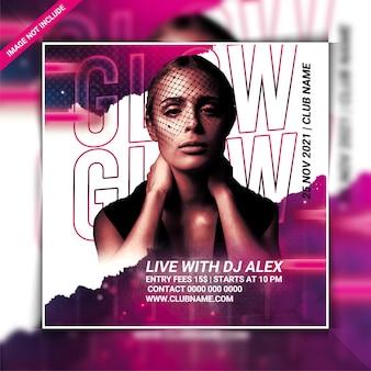 Folheto da festa do dj glow night ou postagem nas redes sociais