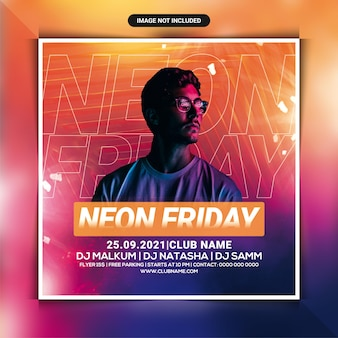 Folheto da festa neon sexta-feira