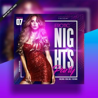 Folheto da música do partido do clube das noites da menina