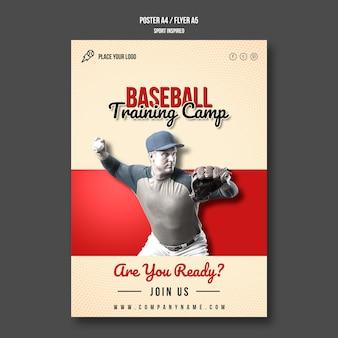 Folheto de acampamento de treinamento de beisebol