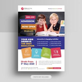 Folheto de admissão de educação escolar de crianças psd
