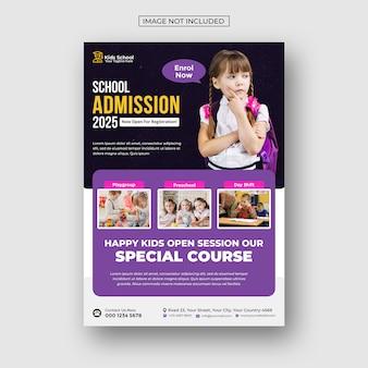 Folheto de admissão escolar de educação infantil