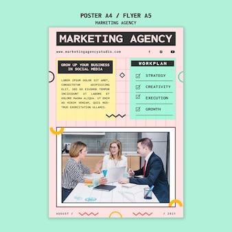 Folheto de agência de marketing de mídia social