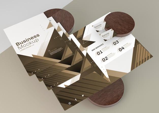Folheto de arranjo de maquete de papelaria comercial
