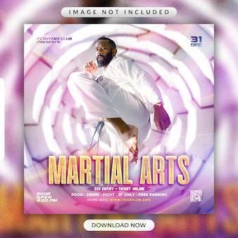 Folheto de artes marciais ou modelo de banner de mídia social