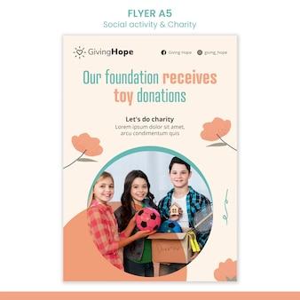 Folheto de atividades sociais e caridade