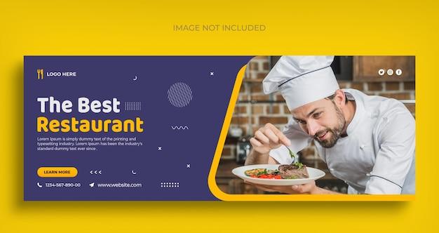 Folheto de banner da web de melhor restaurante em mídia social e modelo de design de foto de capa do facebook