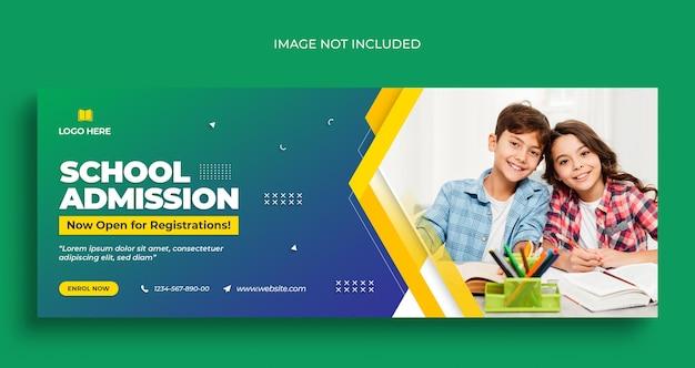 Folheto de banner da web de volta às aulas nas redes sociais e modelo de design de foto de capa do facebook