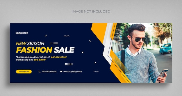 Folheto de banner da web em mídia social de venda de moda e modelo de design de foto de capa do facebook