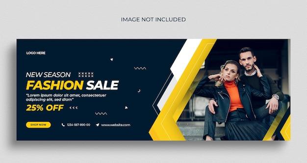 Folheto de banner da web em mídia social para venda de moda e modelo de design de foto de capa do facebook