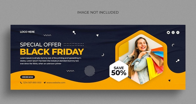 Folheto de banner da web em preto e branco para venda na mídia social e modelo de design de foto de capa do facebook