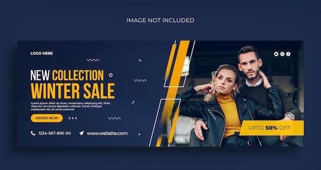 Folheto de banner da web para venda de moda de inverno em mídia social e modelo de design de capa do facebook