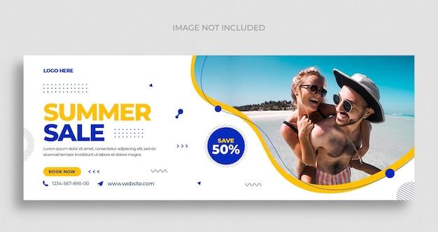 Folheto de banner da web para venda de moda de verão nas mídias sociais e modelo de design de capa do facebook