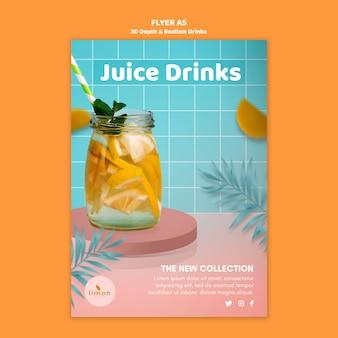 Folheto de bebidas de profundidade e realismo 3d