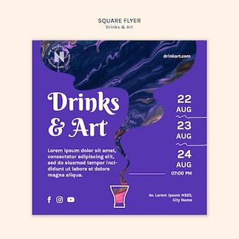 Folheto de bebidas e arte