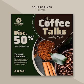 Folheto de café fala quadrado