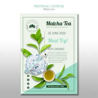 Folheto de chá matcha orgânico