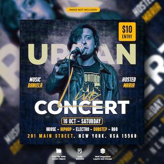 Folheto de concerto urbano ao vivo e modelo de postagem de mídia social de música