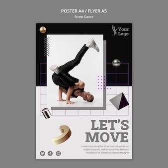 Folheto de dança de rua com foto