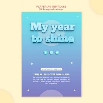 Folheto de design de tipografia 3d