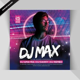 Folheto de festa de dj max