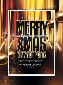 Folheto de festa de feliz natal e ano novo