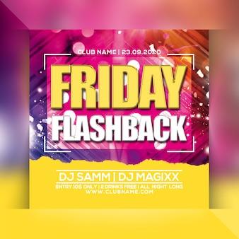 Folheto de festa de flashback de sexta-feira