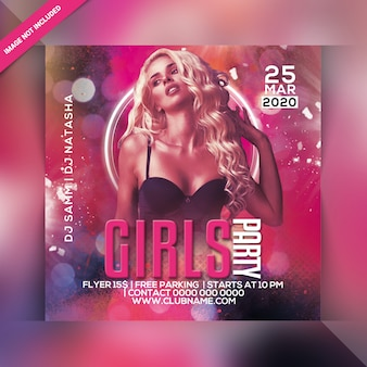 Folheto de festa de meninas