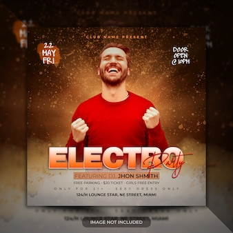 Folheto de festa de modelo de cartaz de música eletrônica