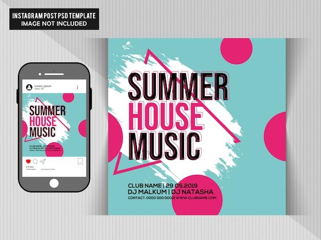 Folheto de festa de música de casa de verão