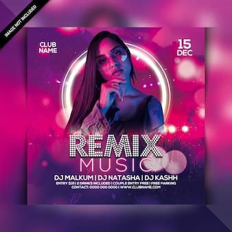 Folheto de festa de música remix
