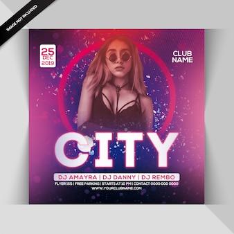 Folheto de festa de noite de cidade