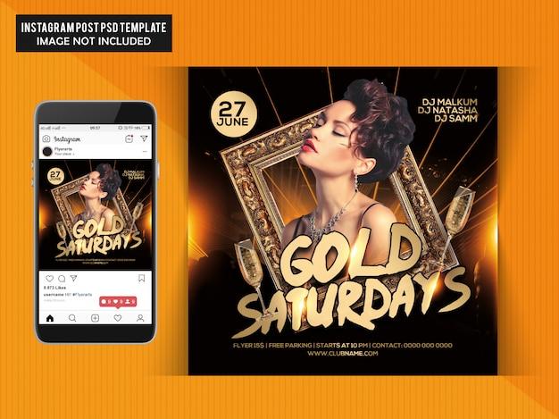 Folheto de festa de ouro aos sábados