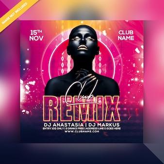 Folheto de festa de remix de clube