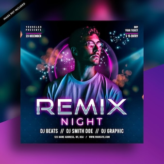 Folheto de festa de remix de dj