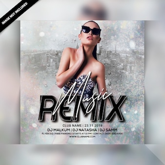Folheto de festa de remix de música