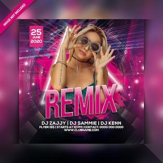 Folheto de festa de remix