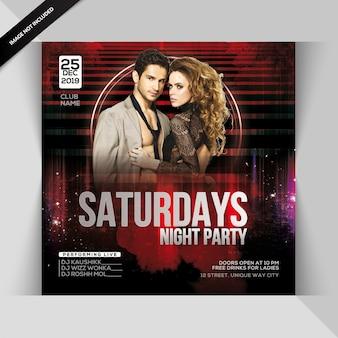 Folheto de festa de sábado à noite