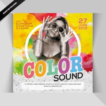 Folheto de festa de som em cores