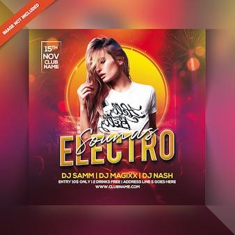Folheto de festa de sons electro