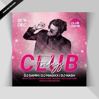Folheto de festa do clube às sextas-feiras