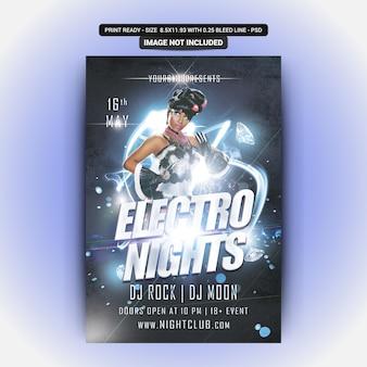 Folheto de festa electro nights