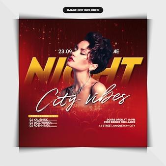 Folheto de festa em clube noturno city vibes