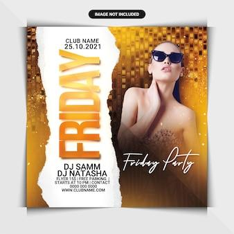 Folheto de festa na sexta à noite ou modelo de postagem em mídia social